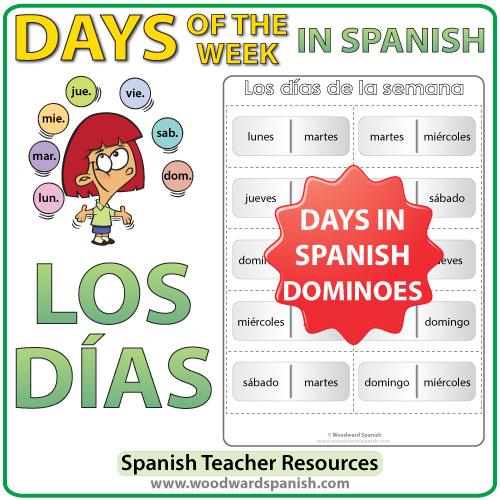 Spanish Days of the Week Dominoes - Juego de dominó con los días de la semana en español