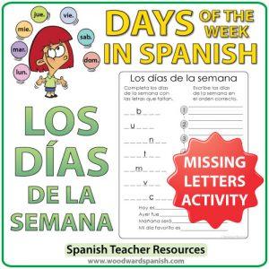 Spanish Days of the Week Missing Letters Activity. Actividad con los días de la semana en español.