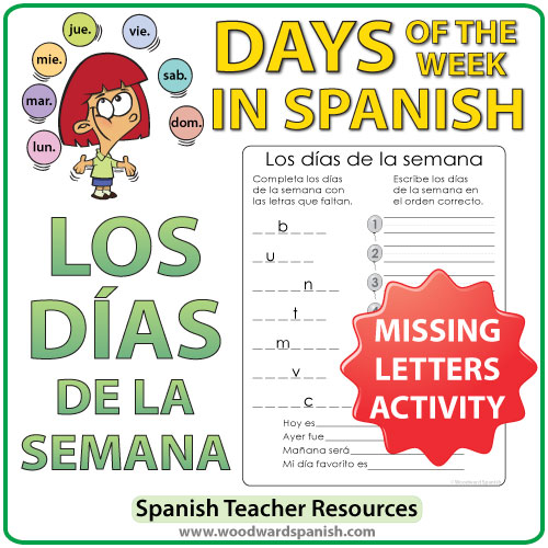 Spanish Days of the Week Missing Letters Activity. Actividad con los días de la semana en español.