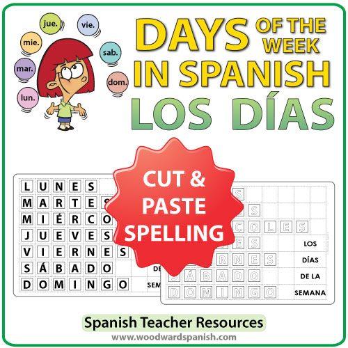 Spanish Days of the Week Spelling Activity - Cut and Paste - Los días de la semana en español