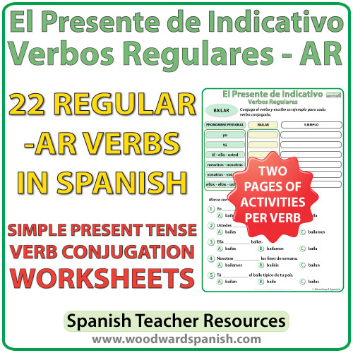 Spanish present tense regular AR verbs worksheets -- El presente de indicativo - verbos regulares