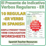 Spanish present tense regular ER verbs worksheets -- El presente de indicativo - verbos regulares