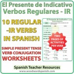 Spanish present tense regular IR verbs worksheets -- El presente de indicativo - verbos regulares