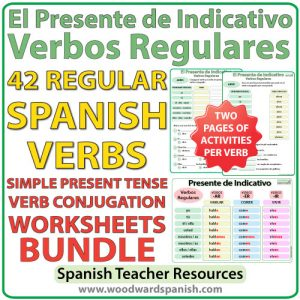 Spanish present tense regular verbs worksheets - Bundle of activities - Verbos regulares - Presente de Indicativo