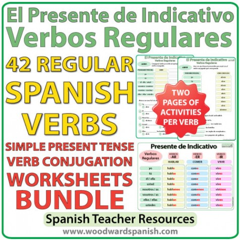 spanish present tense bundle regular verbs conjugation worksheets woodward spanish. Black Bedroom Furniture Sets. Home Design Ideas