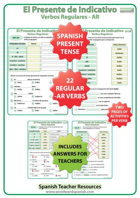 Spanish present tense regular AR verbs worksheets -- El presente de indicativo - verbos regulares