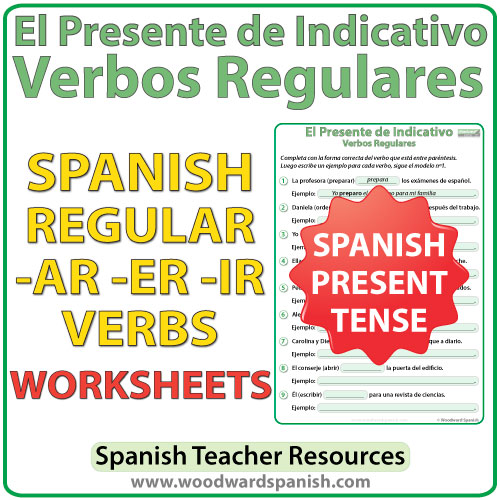 Worksheets for regular Spanish verbs in the simple present tense. Actividades con verbos regulares en el presente de indicativo.