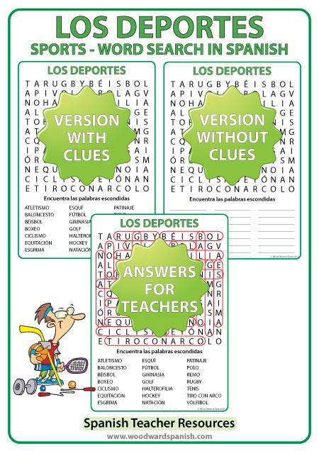 Spanish Sports Word Search - Sopa de letras en español - Los deportes