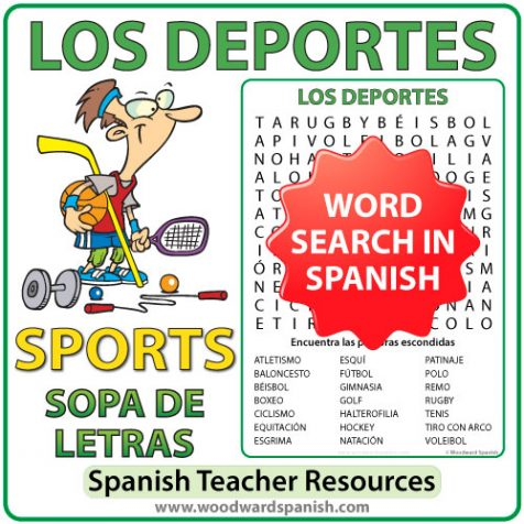 sports spanish word search los deportes woodward spanish. Black Bedroom Furniture Sets. Home Design Ideas