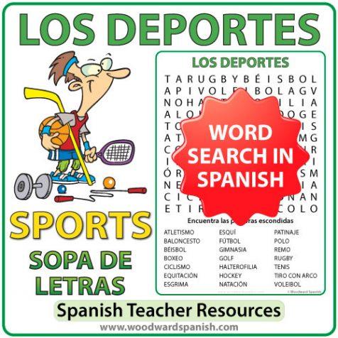 Spanish Sports Word Search - Los Deportes - Sopa de Letras