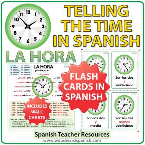 Spanish Time Flash Cards / Charts - Tarjetas y afiches con la hora en español