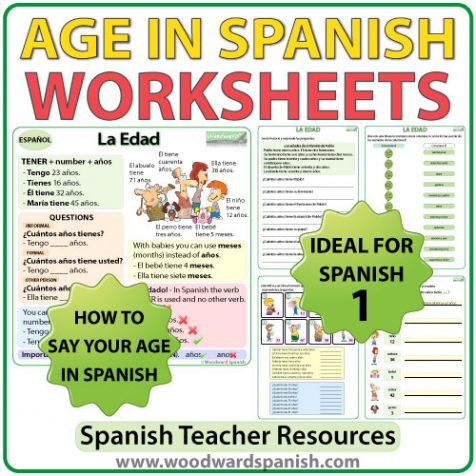 Age in Spanish worksheets and explanation chart. La edad en español.