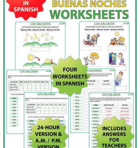 Buenos Días, Buenas Tardes, Buenas Noches - Spanish Worksheets. Ejercicios conlos saludos en español.