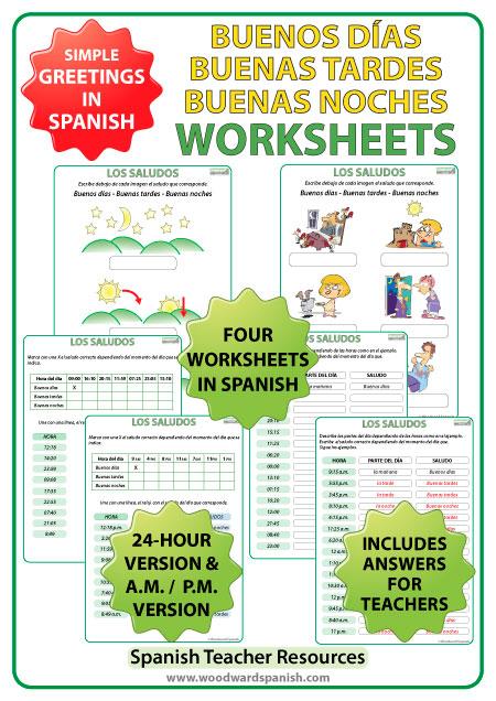 Buenos Días – Buenas Tardes – Buenas Noches – Worksheets ...