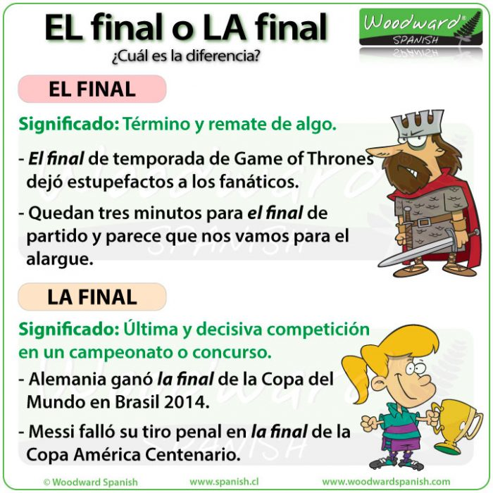 La diferencia entre EL final y LA final en español. The difference between EL final and LA final in Spanish.