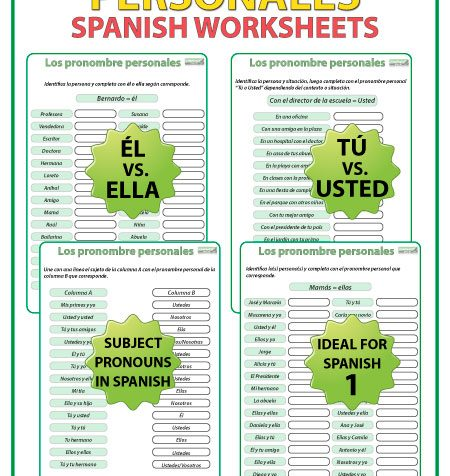Pronombres personales en español - Ejercicios. Spanish Subject Pronouns worksheets.