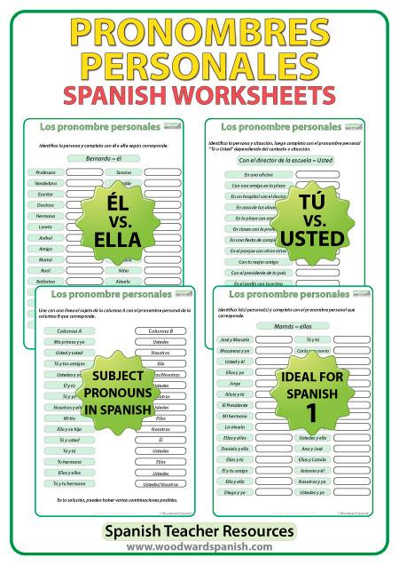 Pronombres personales en español - Ejercicios. Spanish Subject Pronouns worksheets.
