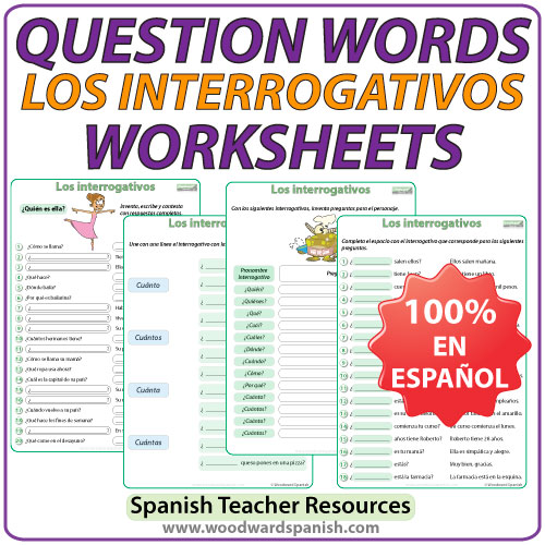 Spanish Question Words Worksheets. Ejercicios con los interrogativos en español