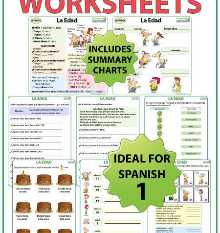 Spanish Age worksheets and explanation chart. La edad en español.