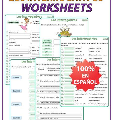Question Words in Spanish Worksheets. Ejercicios con los interrogativos en español.