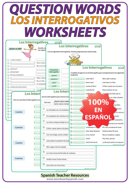 Spanish Question Words – Worksheets   Woodward Spanish