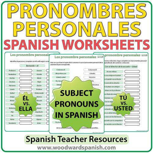 Spanish Subject Pronouns worksheets - Ejercicios con los pronombres personales en español