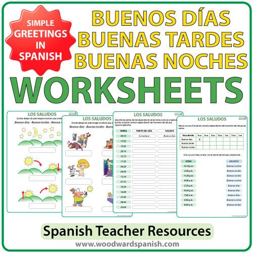 Buenos D as Buenas Tardes Buenas Noches Worksheets – Basic Spanish Worksheets