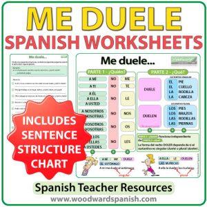 Spanish worksheets to practice the Verb DOLER. Ejercicios con el verbo DOLER en español.