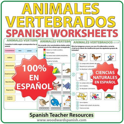 Actividades con los animales vertebrados en español. Vertebrates in Spanish Worksheets.