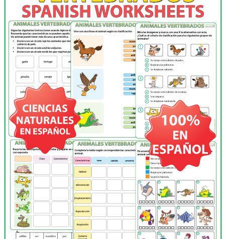 Vertebrates in Spanish Worksheets. Actividades con los animales vertebrados en español.