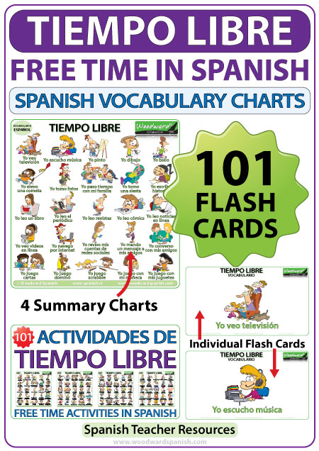 Spanish free time activities flash cards and chart - Spanish Teacher Resource
