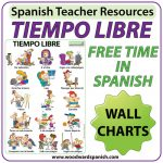 Spanish Free Time Charts and Flash Cards - El tiempo libre en español.