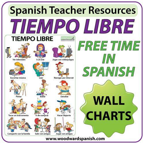 Spanish Free Time Charts and Flash Cards - El tiempo libre en español.