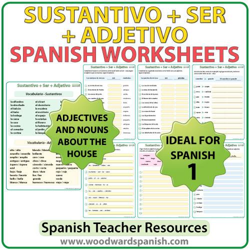 Sustantivo + SER + Adjetivo - Spanish Worksheets - Ejercicios