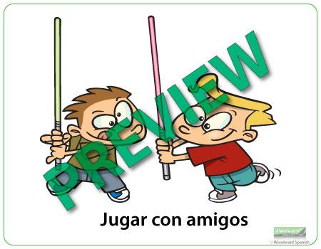 Free time in Spanish chart - Tiempo libre en español - Jugar con amigos