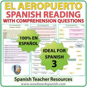 Spanish Reading Passage about Airports with Worksheets Lectura acerca de los aeropuertos con preguntas de comprensión