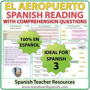 Spanish Reading Passage about Airports with Worksheets Lectura acerca de los aeropuertosconpreguntas de comprensión
