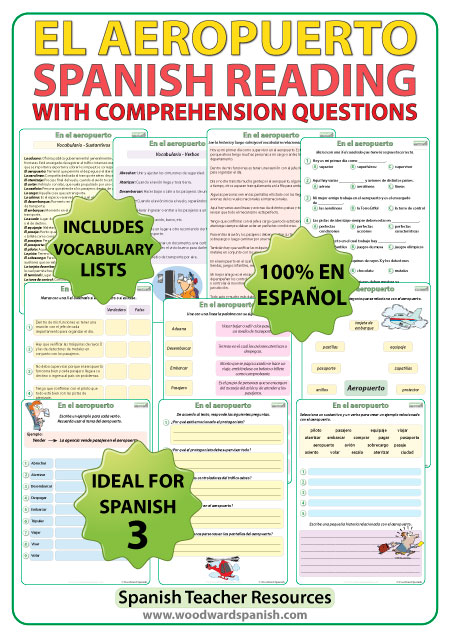 Spanish Reading about Airports with comprehension worksheets. Lectura acerca de los aeropuertos con preguntas de comprensión