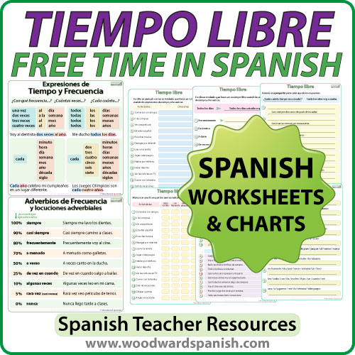 tiempo libre spanish worksheets woodward spanish. Black Bedroom Furniture Sets. Home Design Ideas