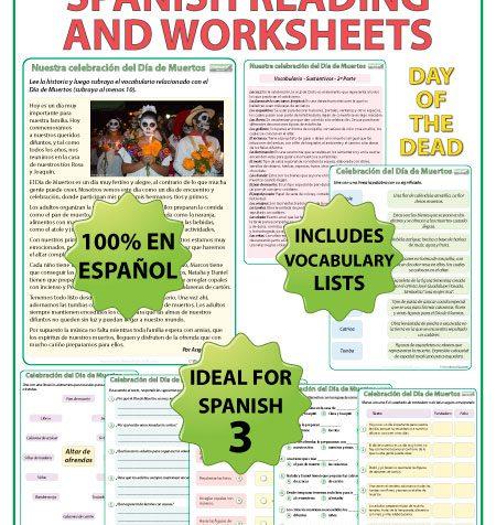 Spanish Reading Passage about Día de Muertos with comprehension questions and vocabulary. Lectura original acerca del Día de Muertos en español con preguntas de comprensión y vocabulario