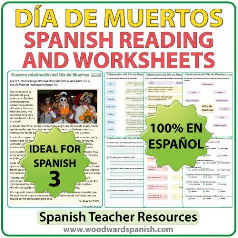 Reading Passage about Día de Muertos in Spanish with comprehension questions and vocabulary. Lectura original acerca del Día de Muertos con preguntas de comprensión y vocabulario