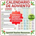 Advent Calendar in Spanish for teachers. Calendario de Adviento en español para profesores.