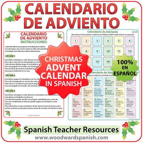 Advent Calendar in Spanish for teachers. Calendario de Adviento en español para profesores.