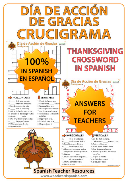 Crucigrama con vocabulario acerca del Día de Acción de Gracias. Crossword with Vocabulary about Thanksgiving Day in Spanish.