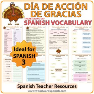 Día de Acción de Gracias - Vocabulario. Spanish Vocabulary about Thanksgiving Day.
