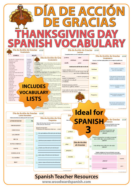 Spanish Thanksgiving Vocabulary. Día de Acción de Gracias - Vocabulario.