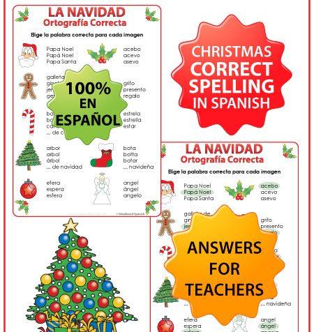 Spanish Christmas Spelling Activity. Ortografía Correcta - La Navidad.