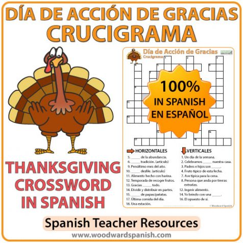 Crossword with Vocabulary about Thanksgiving Day in Spanish. Crucigrama con vocabulario acerca del Día de Acción de Gracias.