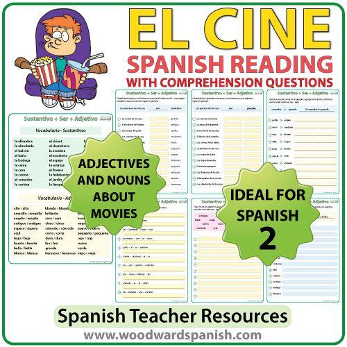 Spanish Reading Passage about Cinemas/Movies with Worksheets Lectura acerca del cine con preguntas de comprensión