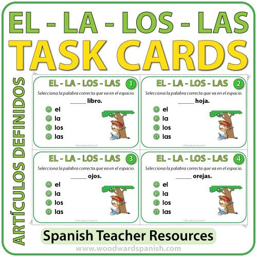 Spanish Task Cards - Los Artículos Definidos (Definite Articles)